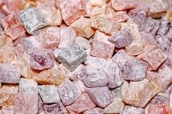 Sortierter traditioneller Abschluss der türkischen Freude oben Zuckerüberzogene weiche Süßigkeit stockfotografie