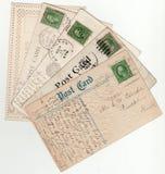 Sortierter Weinlese-Postkarten-Fan 1900's Lizenzfreie Stockfotos