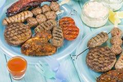Sortiertes Barbequed-Fleisch Stockfotografie