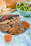 Sortiertes Barbequed-Fleisch Stockfotos