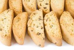 Sortiertes Biscotti getrennt auf Weiß Stockfotografie