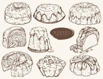 Sortiertes Gebäck, Kuchen mit verschiedenen Füllungen lizenzfreie abbildung