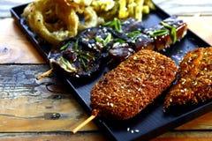 Sortiertes Kushiyaki-Japanerlebensmittel Stockfoto