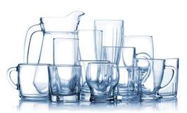 Sortiertes leeres Glaswareset Lizenzfreie Stockfotos