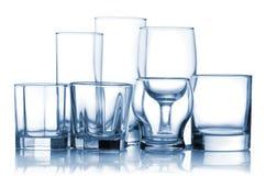 Sortiertes leeres Glaswareset Lizenzfreie Stockbilder