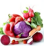 Sortiertes unterschiedliches rotes Gemüse Stockfotografie