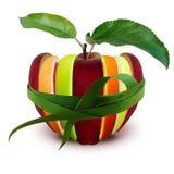 Sortiment av den skivade äpplen, grapefrukten och apelsinen för ‹för †royaltyfri bild