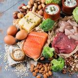 Sortiment av den sunda proteinkällan och kroppbyggnadsmat Fotografering för Bildbyråer