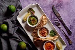 Sortiment av dopp med pitabrödet på en platta Hummus, guacamole och ett kryddigt dopp i små bunkar royaltyfri foto