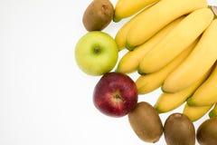 Sortiment av exotiska frukter på vit Fotografering för Bildbyråer
