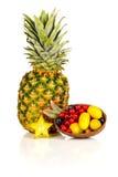 Sortiment av exotiska frukter som isoleras på vit Royaltyfria Foton
