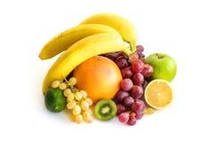 Sortiment av exotiska frukter som isoleras på vit Arkivfoton