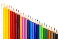 Sortiment av färgblyertspennor Arkivbild