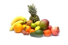 Sortiment av isolerade exotiska frukter Royaltyfria Foton