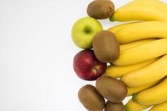 Sortiment av isolerade exotiska frukter Arkivfoton