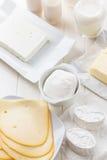 Sortiment av mejeriprodukter arkivfoton