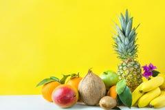 Sortiment av olika tropiska och sommarfrukter Äpplen Kiwi Bananas för citroner för apelsiner för ananasmangokokosnöt citrusa på g Fotografering för Bildbyråer