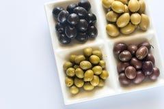 Sortiment av oliv: bästa sikt Arkivbild