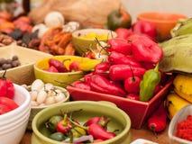 Sortiment av peruanska peppar för varm chili Royaltyfri Bild