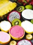 Sortiment av sorbet med exotiska frukter Fotografering för Bildbyråer
