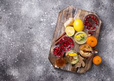 Sortiment av sunt te för vinter för immunitetökning royaltyfri bild