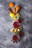 Sortiment av sunt te för vinter för immunitetökning royaltyfria bilder