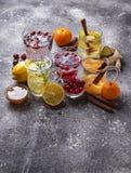 Sortiment av sunt te för vinter för immunitetökning arkivfoto
