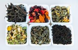 Sortiment av torr tea Olika sorter av te som isoleras på vit Olika sorter av teblad Tesammansättning med olik snäll nolla Royaltyfri Bild