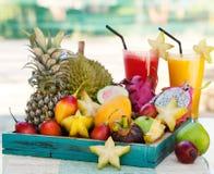Sortiment av tropiska exotiska frukter med smoothien och ny fruktsaft Royaltyfri Foto