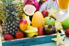 Sortiment av tropiska exotiska frukter med smoothien och ny fruktsaft Royaltyfria Foton