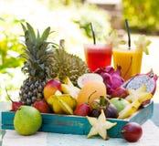Sortiment av tropiska exotiska frukter med smoothien och ny fruktsaft Arkivbilder