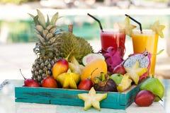 Sortiment av tropiska exotiska frukter med smoothien och ny fruktsaft Royaltyfri Fotografi