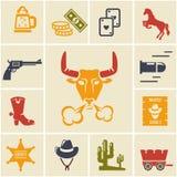 Sortiment av vilda västernsymboler vektor illustrationer
