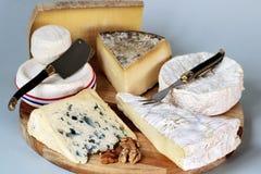 Sortiment för Frankrike ostuppläggningsfat av olika franska ostar arkivbilder