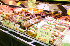 Sortiment of hungarian salami. In a shop from Central Market Hall- Nagycsarnok, in Budapest Stock Photography