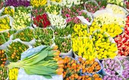Sortimentet av buketter av färgrika tulpan i bönder marknadsför Royaltyfria Bilder