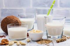 Sortimentet av mejeristrikt vegetarian mjölkar non och ingredienser arkivfoto