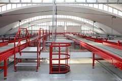 Sorting Conveyors. Conveyor Belt Distribution and Delivery Warehouse royalty free stock image
