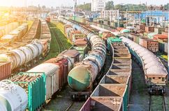 Sorting freight cars on the railroad while formation the train. Stock Images
