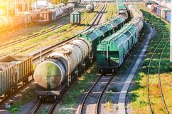 Sorting freight cars on the railroad while formation the train. Stock Photos