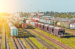 Sorting freight cars on the railroad while formation the train. Royalty Free Stock Photography