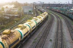 Sorting freight cars on the railroad while formation the train. Royalty Free Stock Photo