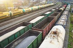 Sorting freight cars on the railroad while formation the train. Stock Photo