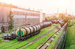Sorting freight cars on the railroad while formation the train. Royalty Free Stock Image