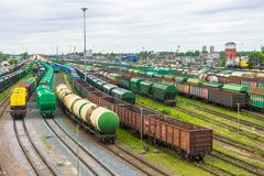Sorting freight railway station in the city wagons for trains with different cargo. Sorting freight railway station in the city wagons for trains with different Royalty Free Stock Image