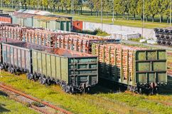 Sorting freight wagons on the railroad while formation the train. Royalty Free Stock Photo