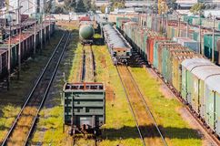 Sorting freight wagons on the railroad while making up the train. Stock Photography