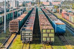 Sorting freight wagons on the railroad while making up the train. Stock Photos