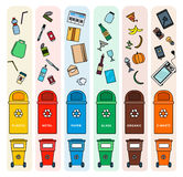 Sorting garbage bins. Thin line flat design of the bins for different sort of garbage. Ecology concept. Plastic bins for metal, paper, plastic, glass, organic Royalty Free Stock Photos