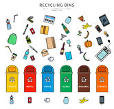 Sorting garbage on white background. Garbage and recycling bins with plastic, metal, paper, glass, organic,e-waste vector flat illustration. Set for ecological Royalty Free Stock Photo